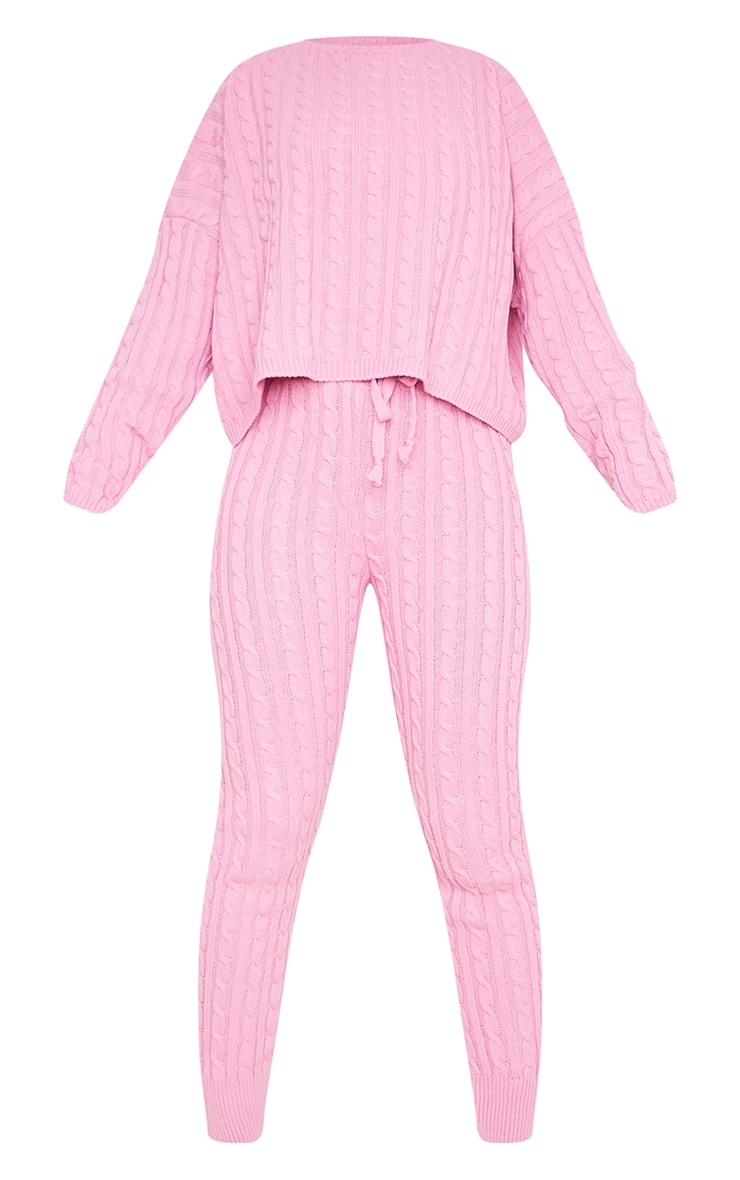 Dusty Pink Cable Knit Sweater & Legging Set 5