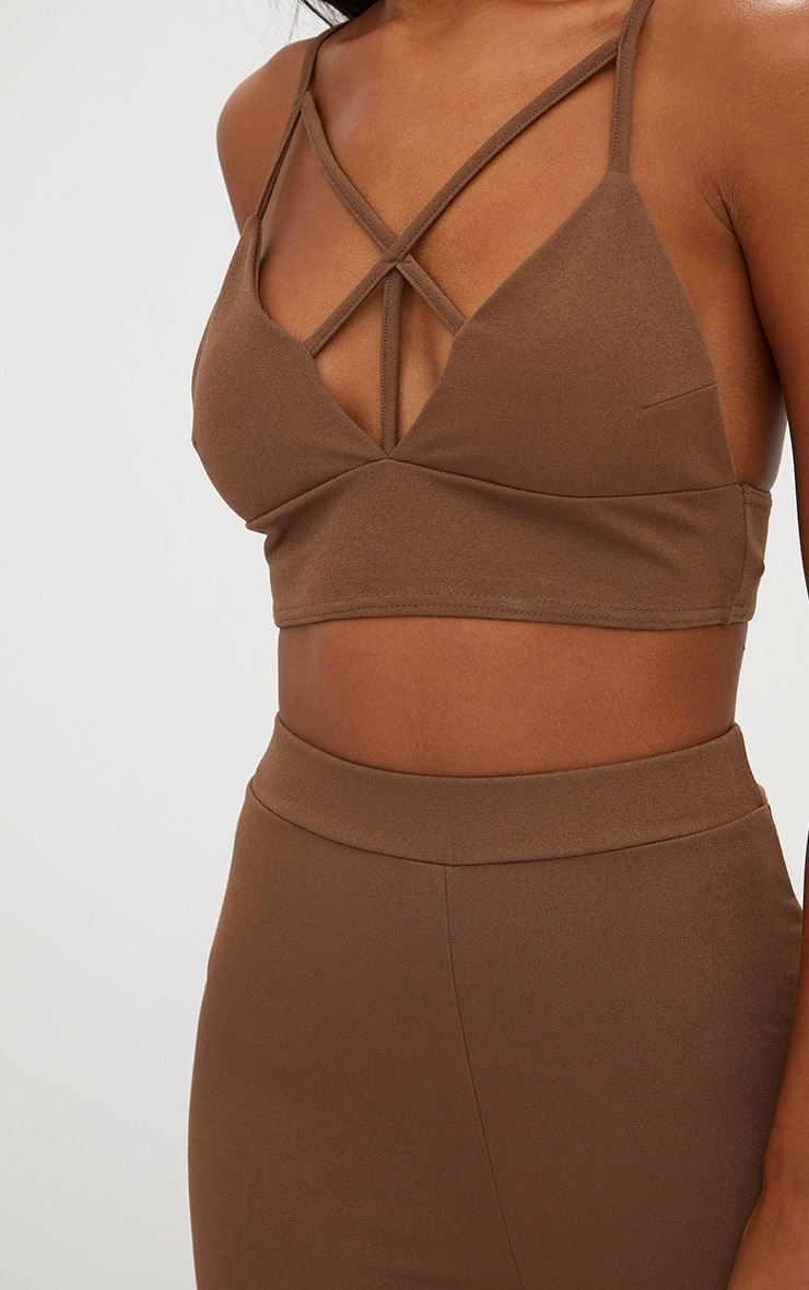 Chocolate Brown Strappy Front Crop Top 5