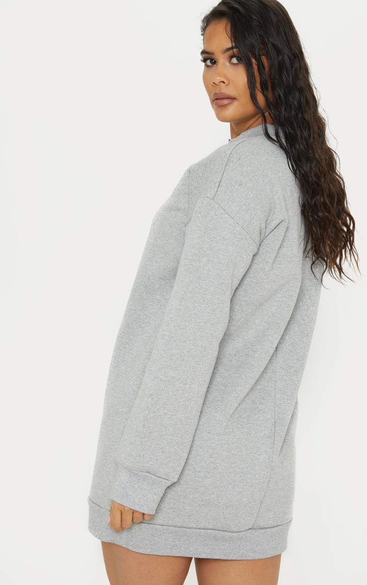 Grey Zip High Neck Jumper Dress 2