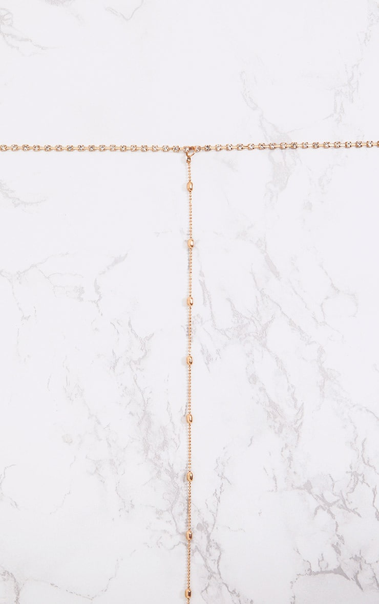 Gold Diamante Choker and Bead Drop Necklace 2