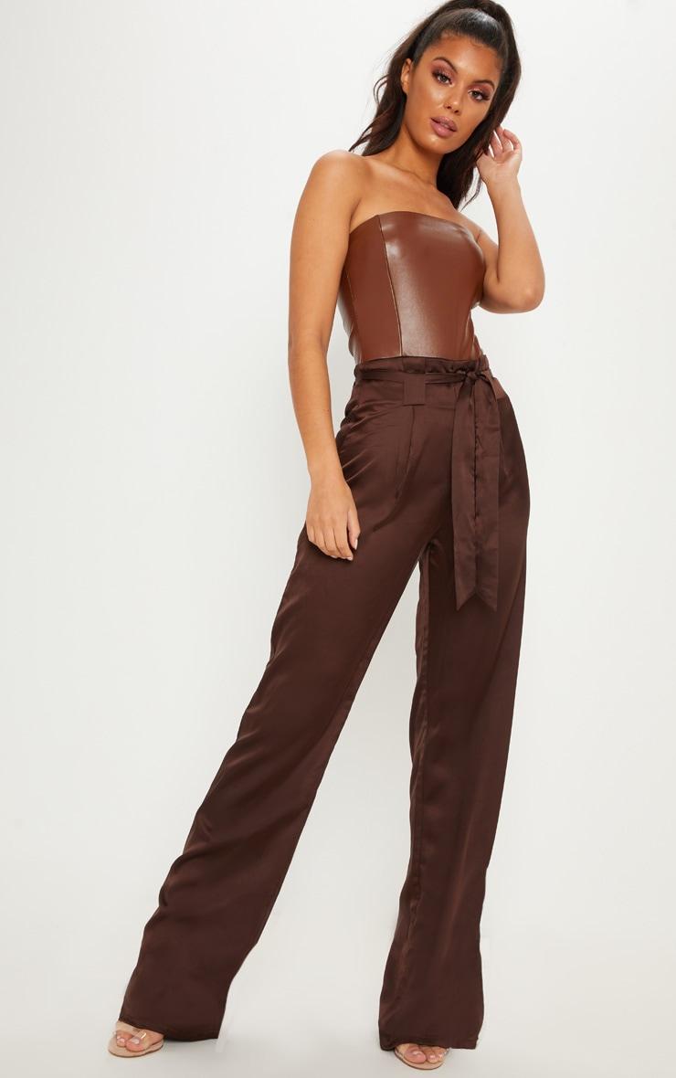 Pantalon jambes évasées marron chocolat à nouer devant
