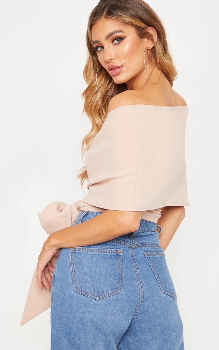 Dusty Pink Bandeau Wrap Front Crop Top 2