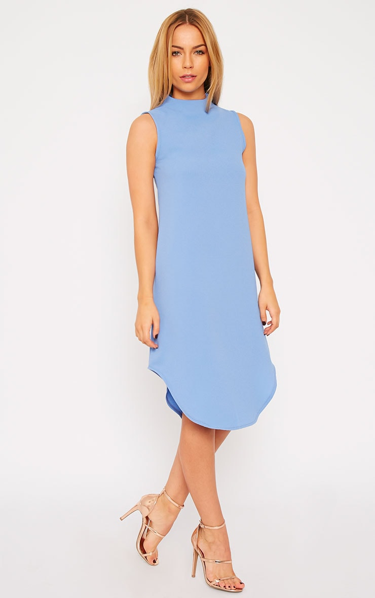 May Powder Blue Crepe High Neck Dip Hem Shift Dress 3