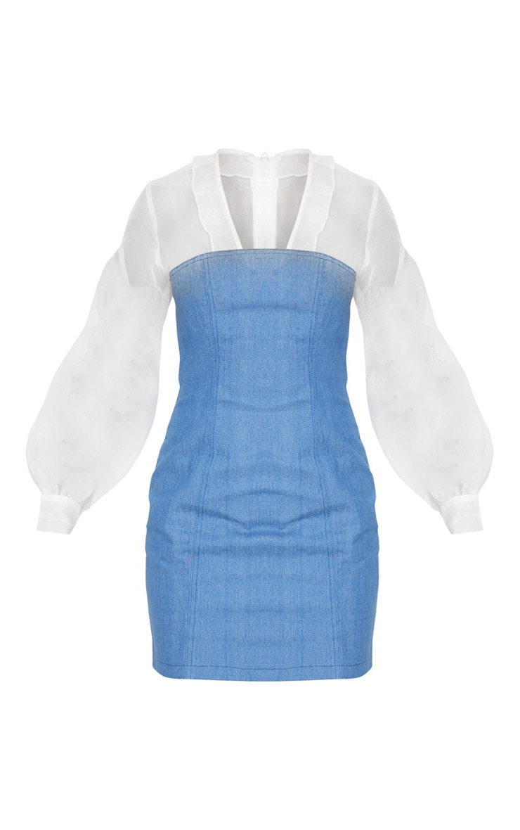 Petite Light Blue Wash Chiffon Sleeve Denim Bodycon Dress 3