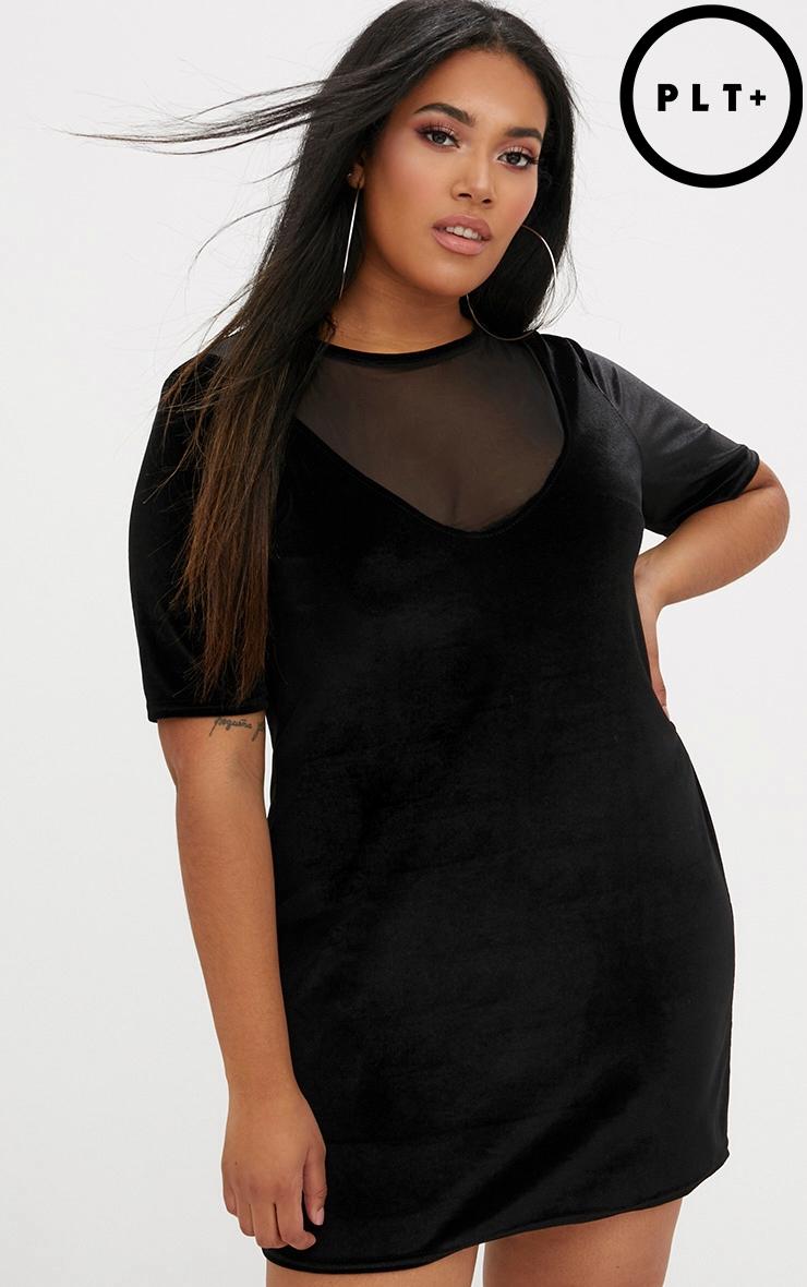 Plus Black Mesh Insert Velvet T-Shirt Dress 1