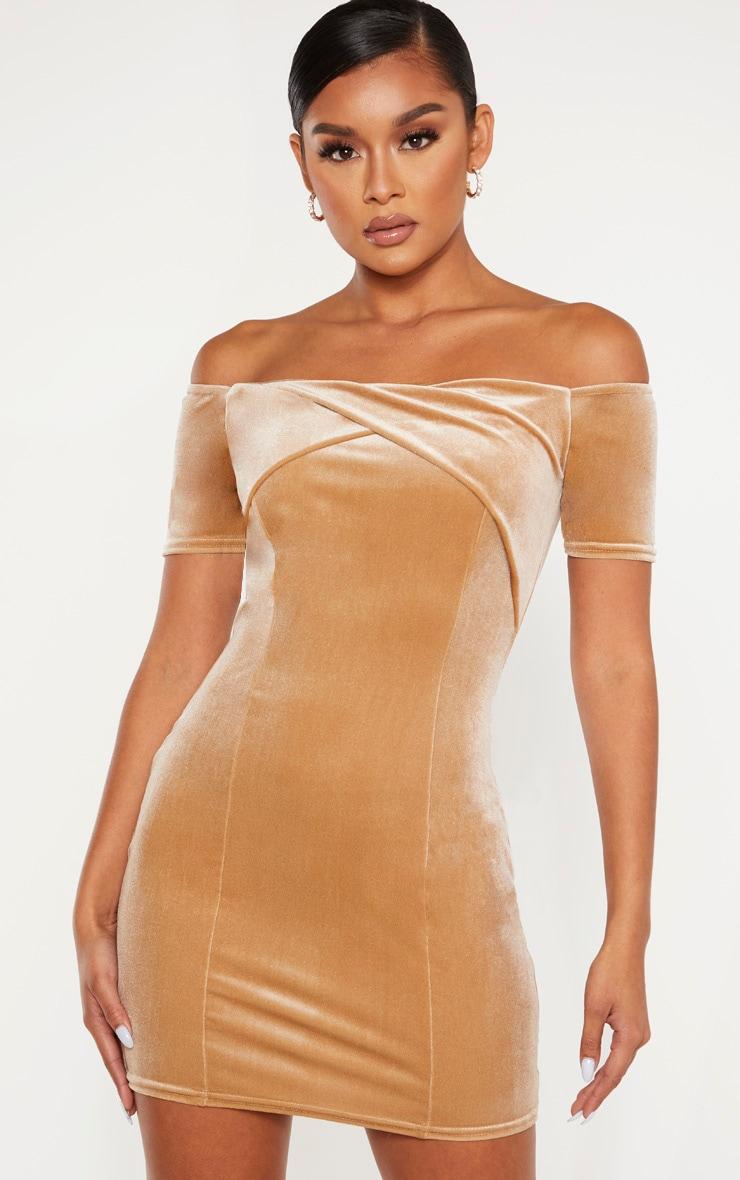 Champagne Velvet Twist Front Short Sleeve Bodycon Dress 1