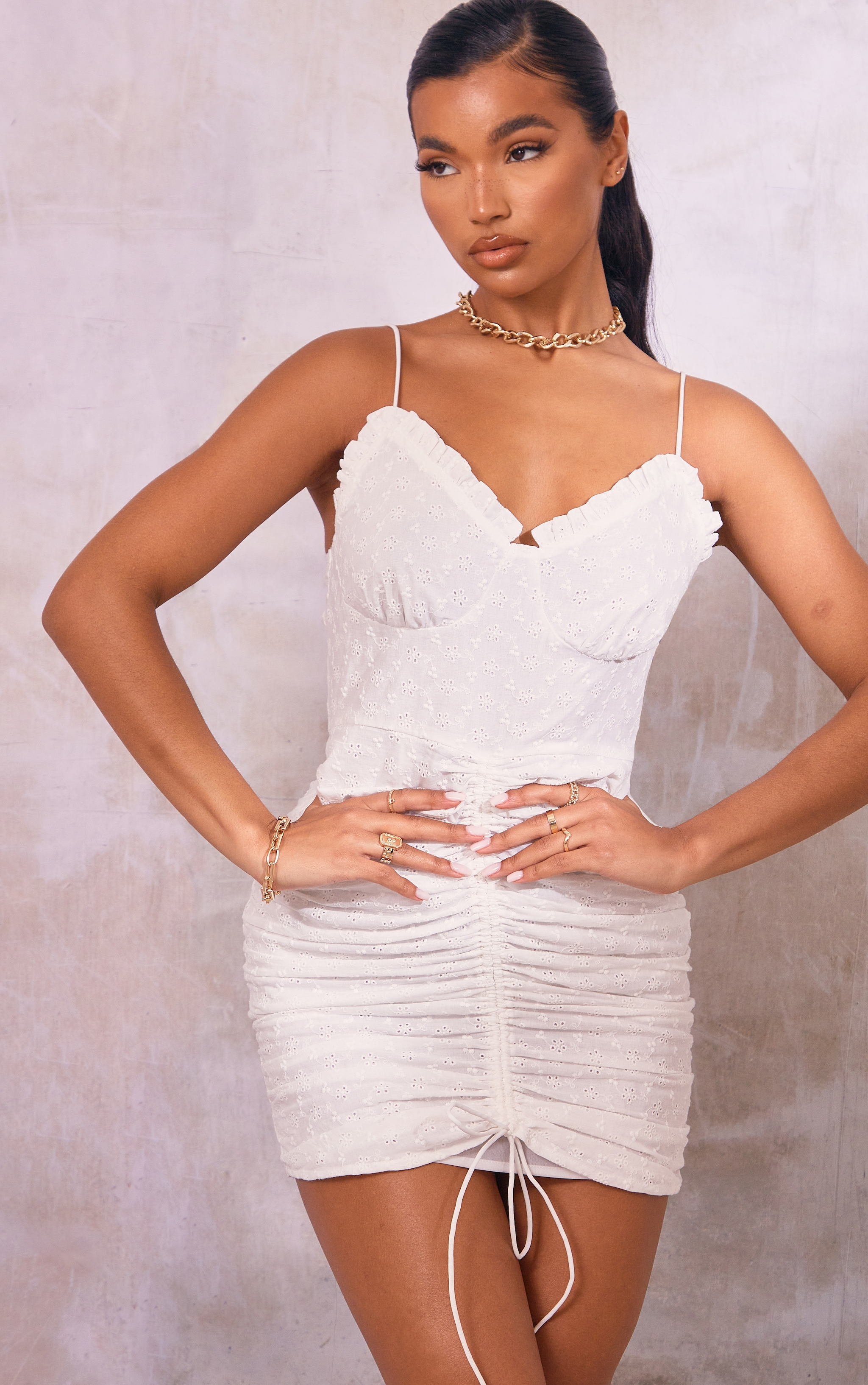 White Broderie Anglaise Strappy Ruched Skirt Bodycon Dress
