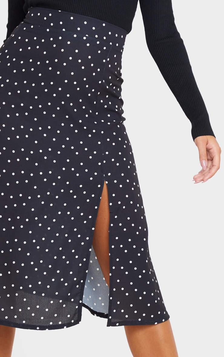 Black Polka Dot Floaty Midi Skirt 4