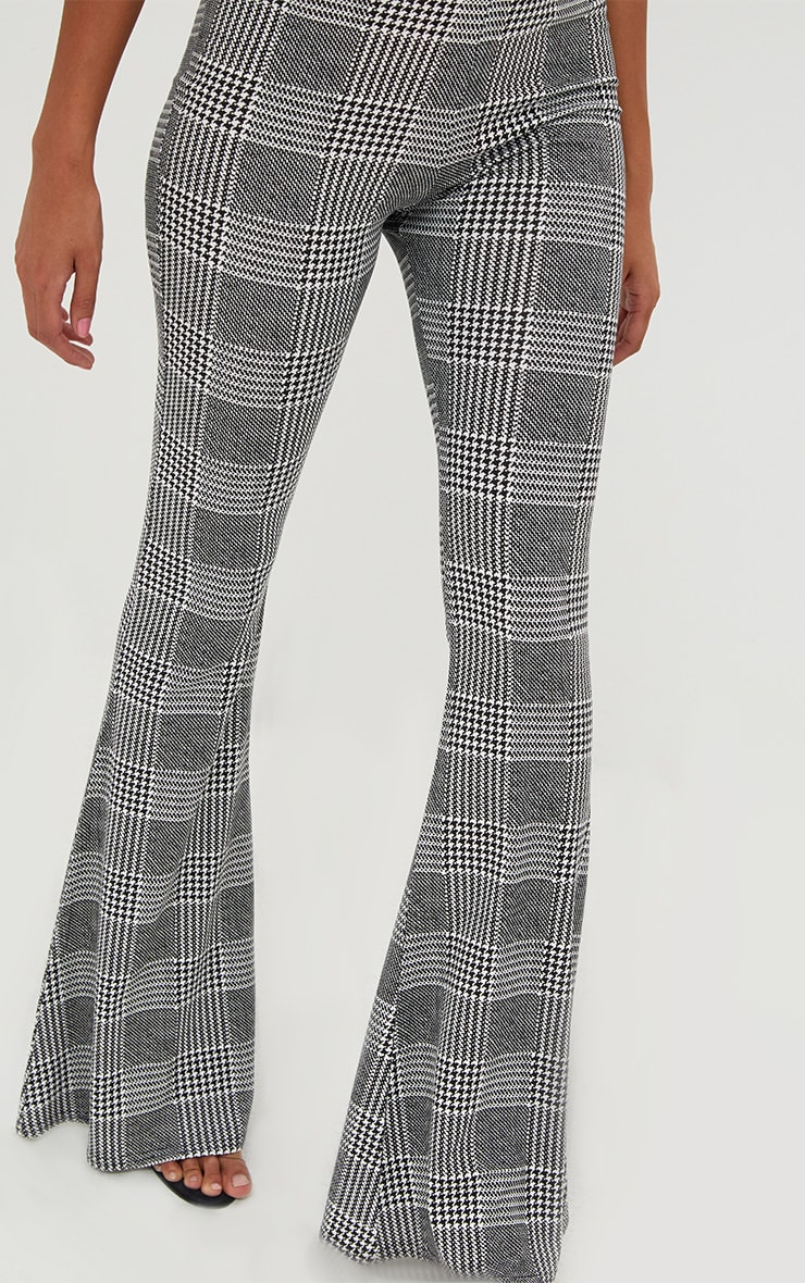 Grey Dogtooth Check Flared Trousers 5