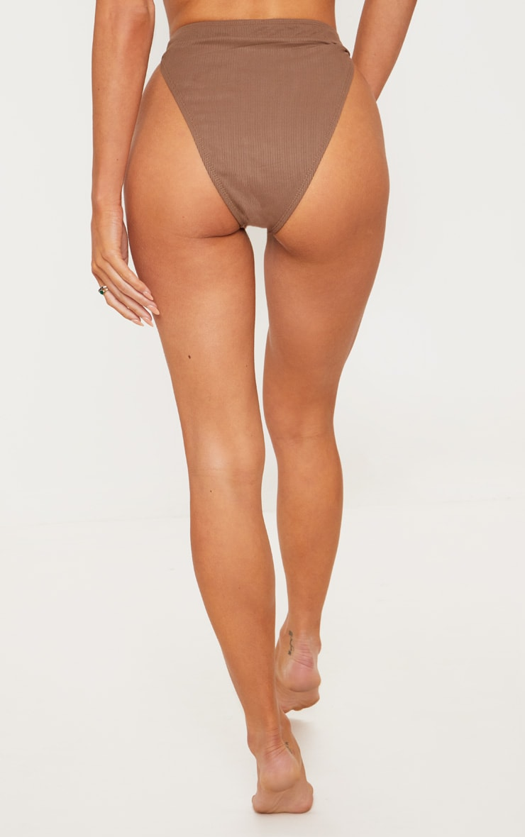 Chocolate Ribbed Button Down Bikini Bottoms 5