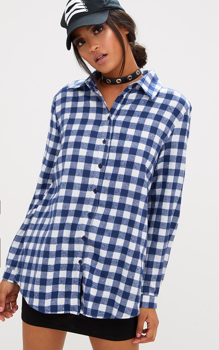 Blue Oversized Checked Flannel Shirt 1