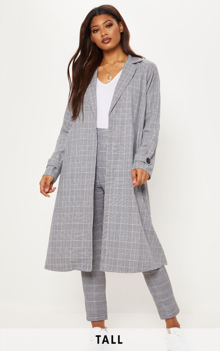 Tall Grey Checked Longline Coat by Prettylittlething