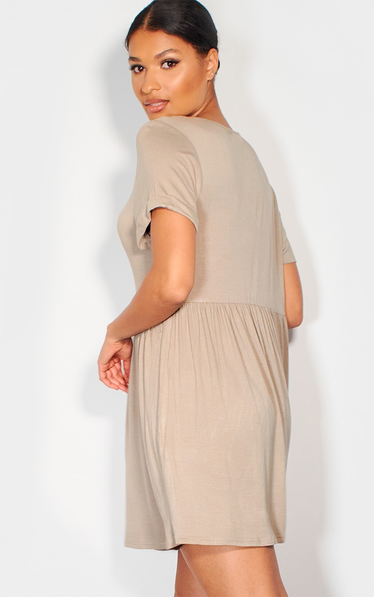 Taupe Jersey Smock Dress 2