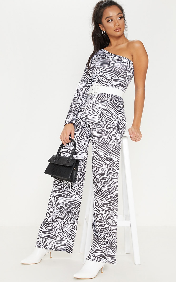 Petite White Zebra Print One Shoulder Jumpsuit