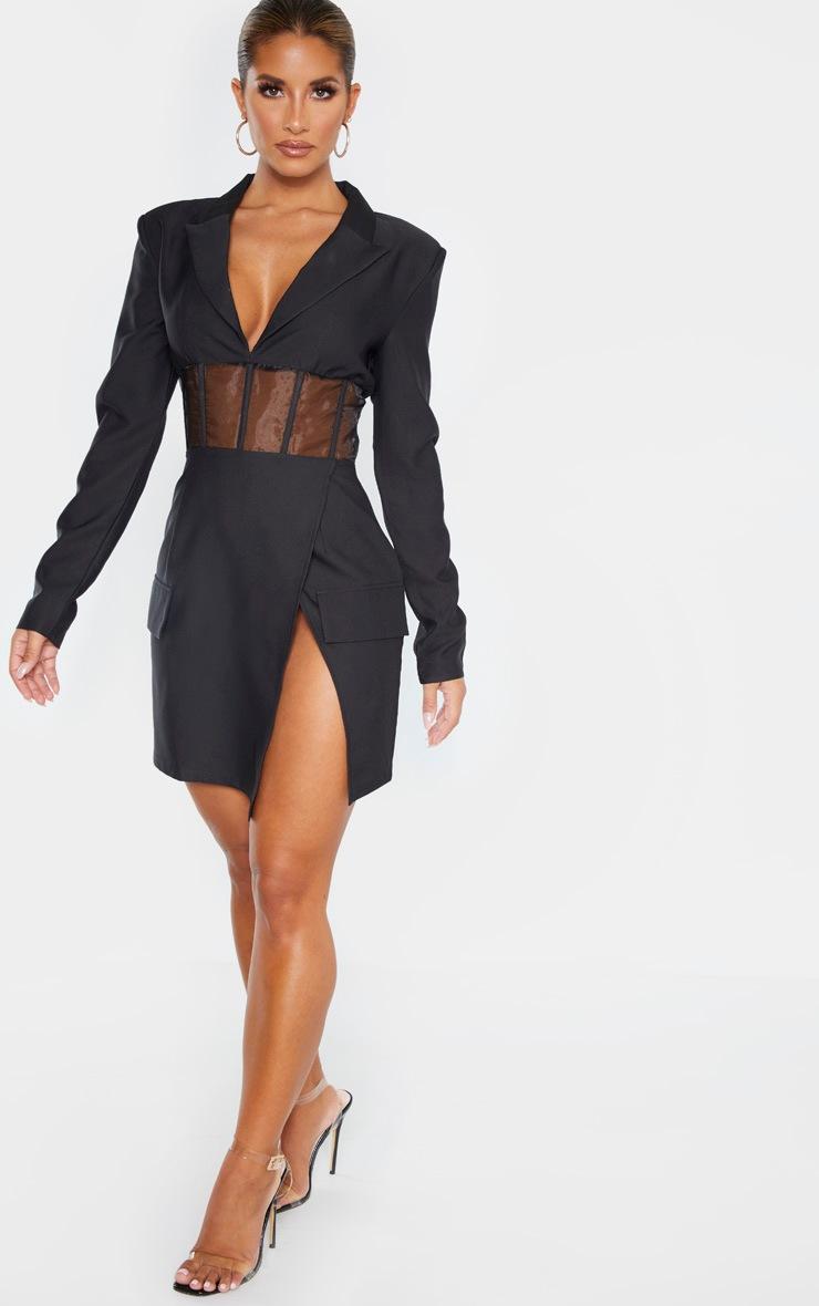 Black Mesh Insert Blazer Dress 4