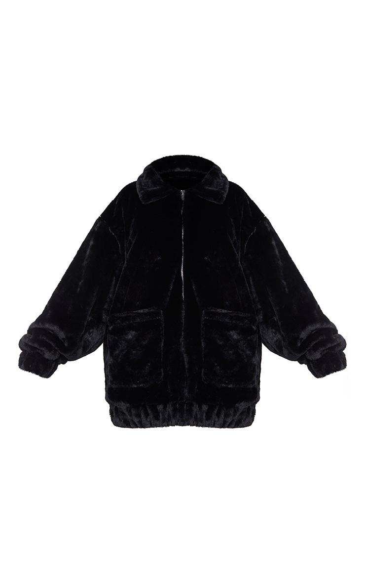 Plus Black Pocket Front Faux Fur Coat 5