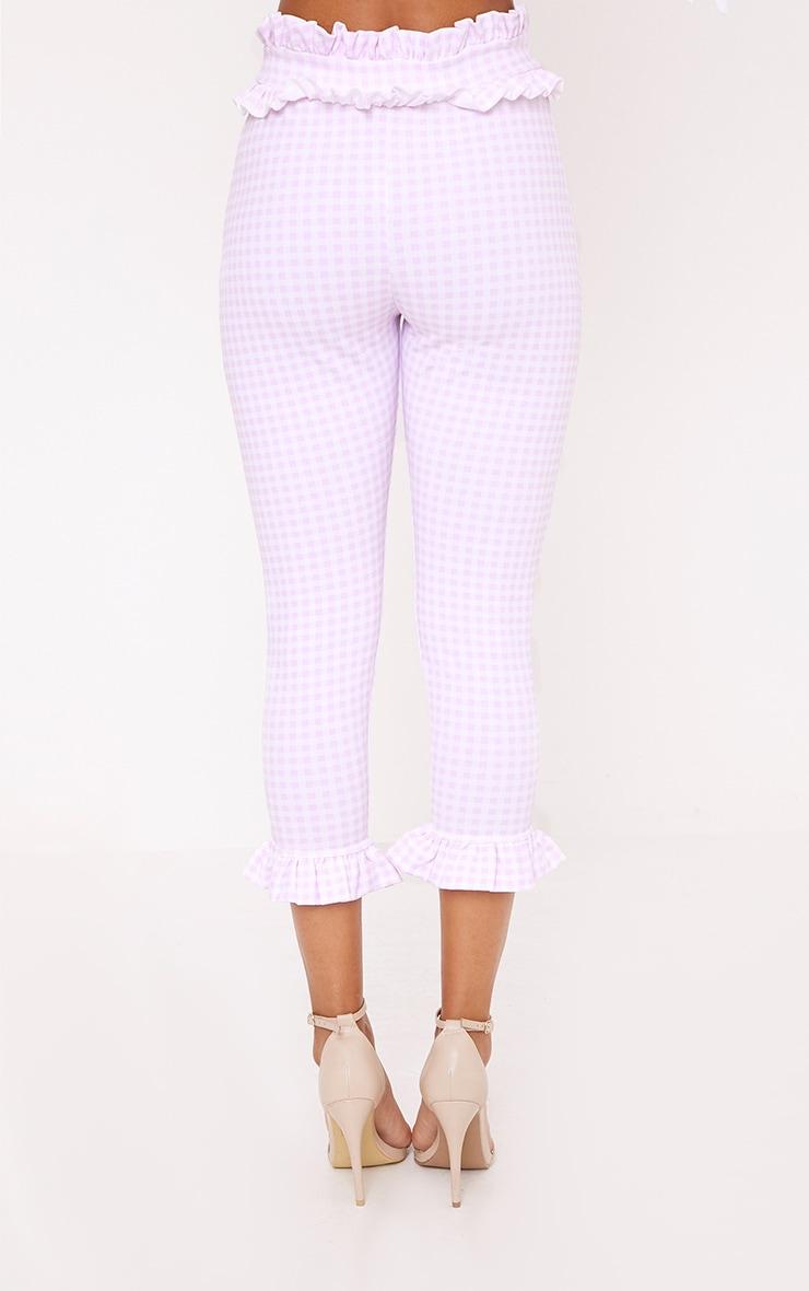 Keren Pink Gingham Frill Trim Trousers 2