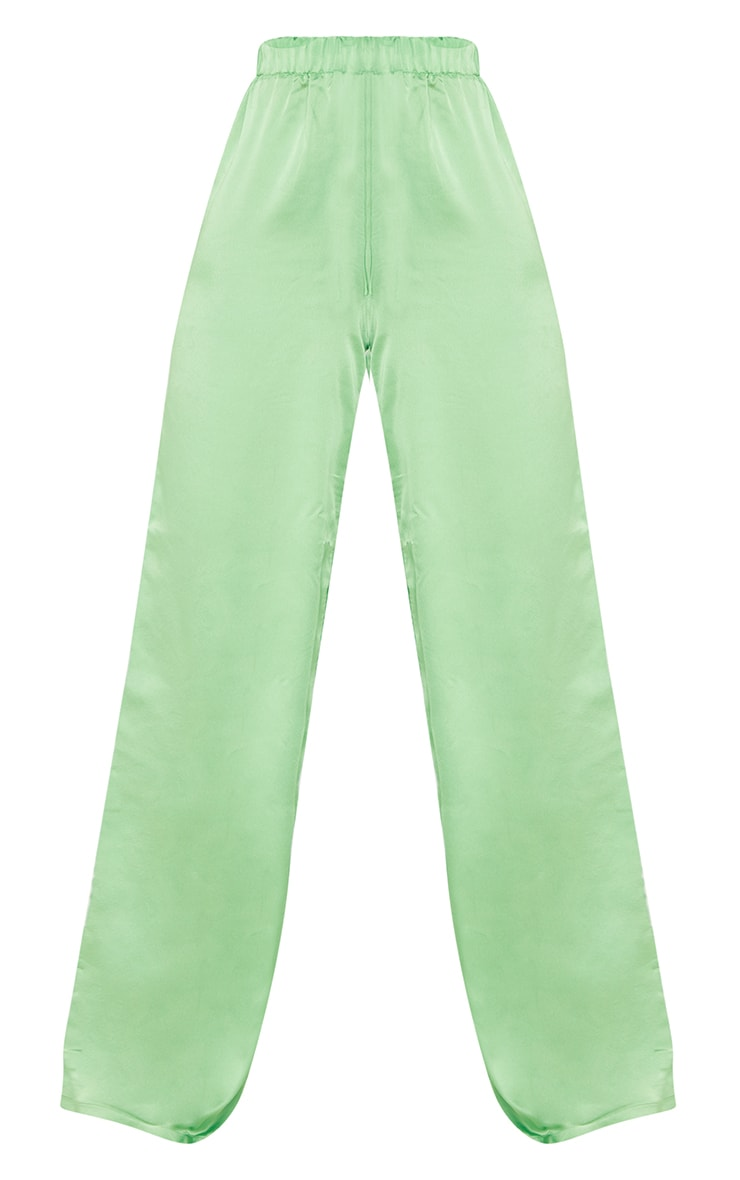 Tall Green Satin High Waisted Ruched Wide Leg Pants 5