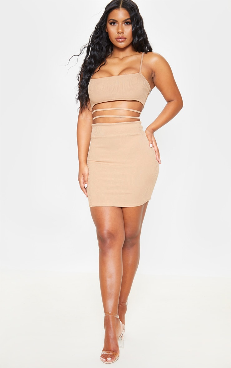 Stone Ribbed Strappy Cut Out Detail Bodycon Dress 4