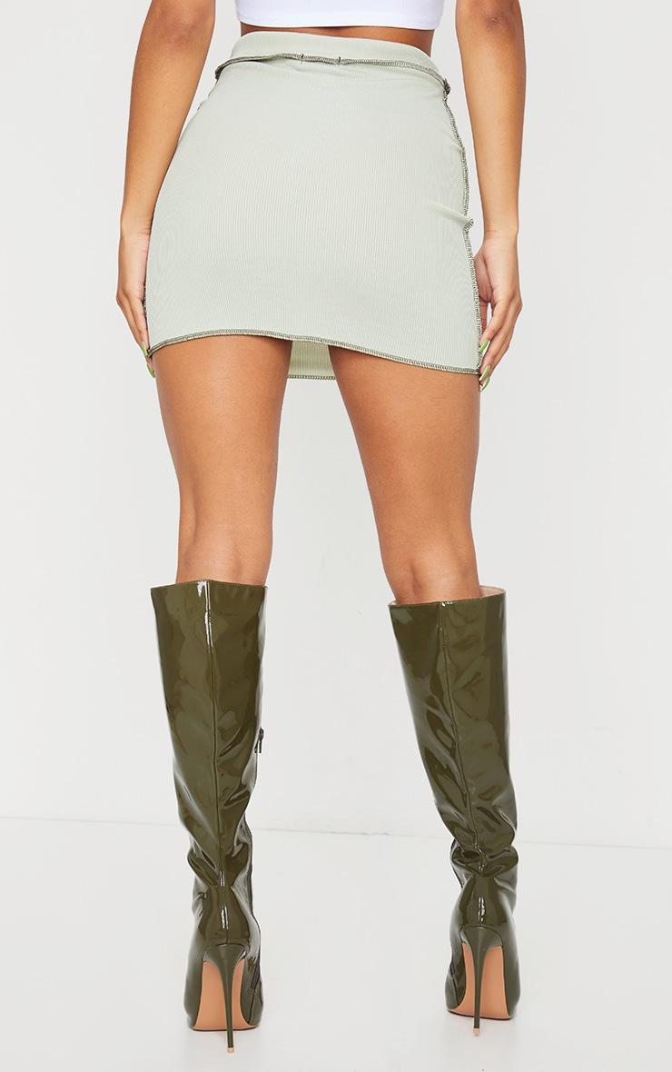 Sage Green Rib Contrast Seam Detail Mini Skirt 3