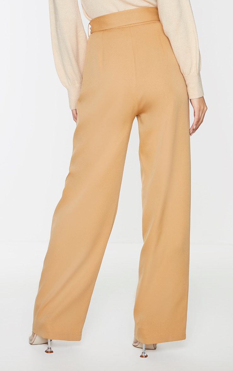 Camel D Ring Woven Belted Straight Leg Pants 3