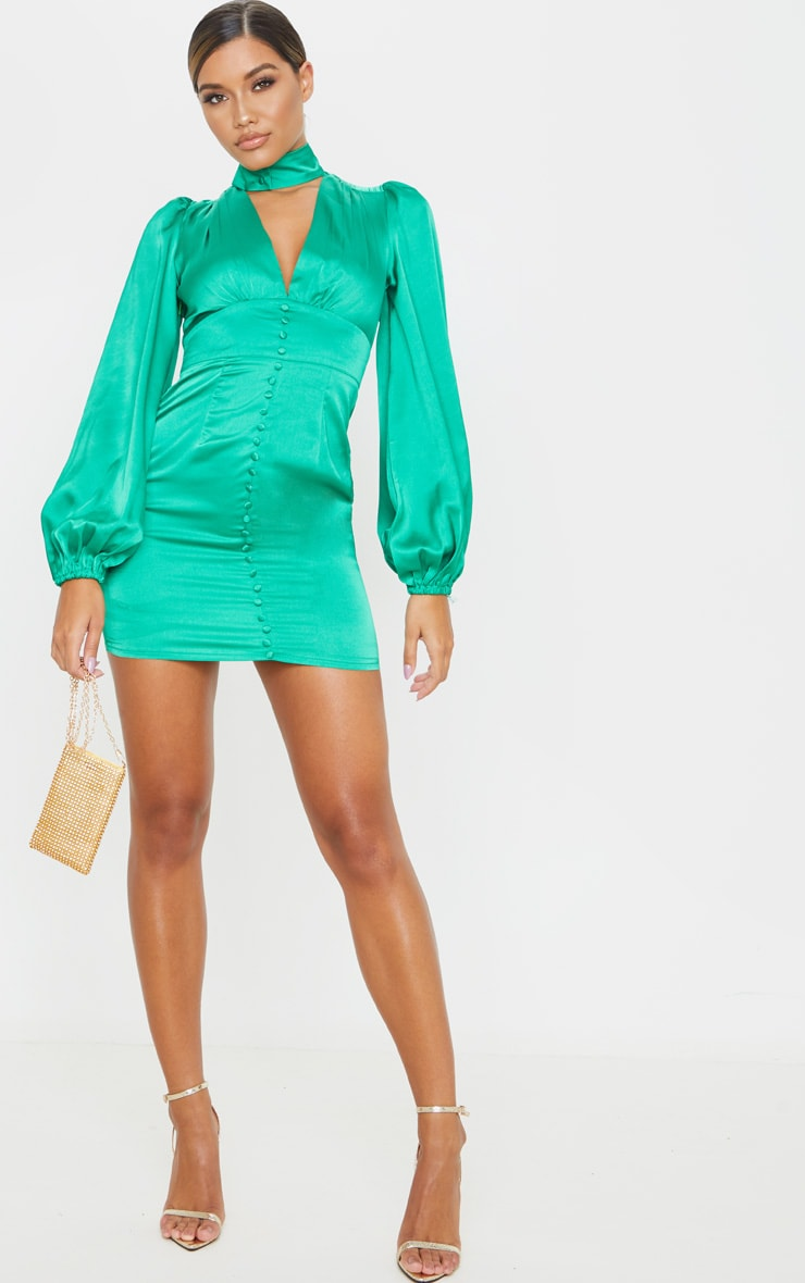 Green Satin Button Down Long Sleeve Plunge Bodycon Dress 4
