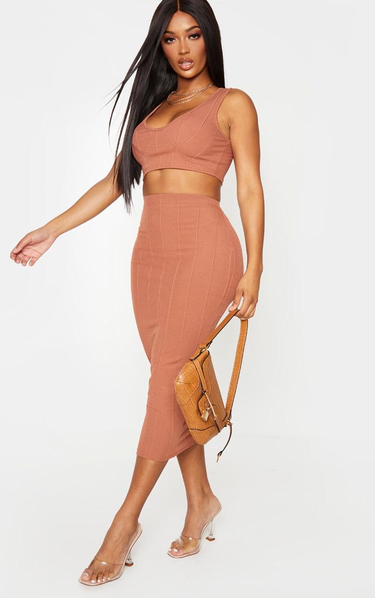 Shape Mocha Bandage High Waist Midi Skirt 1