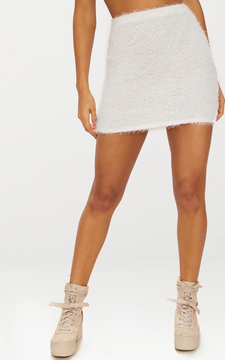 Cream Eyelash Fluffy Knit Mini Skirt 2