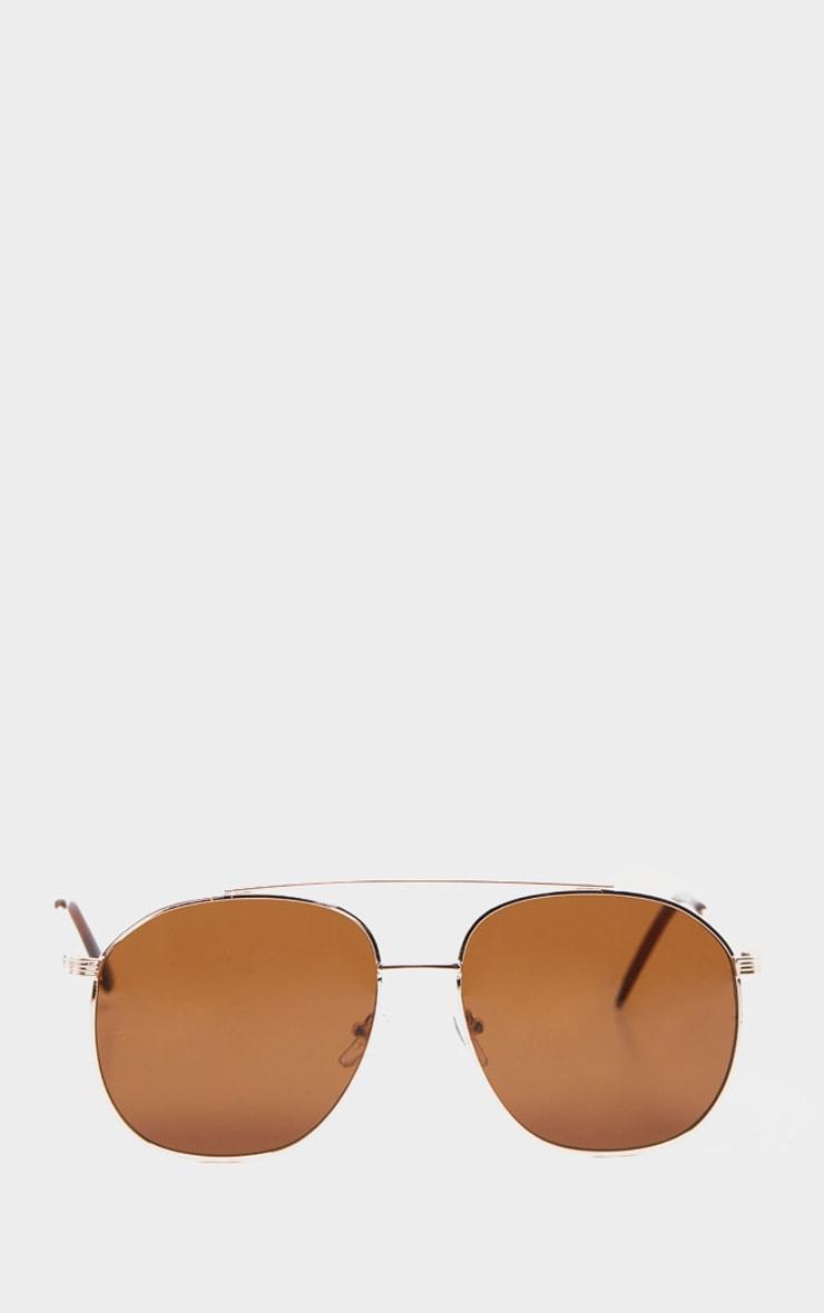 Brown Lens Gold Frame Aviator Sunglasses 2