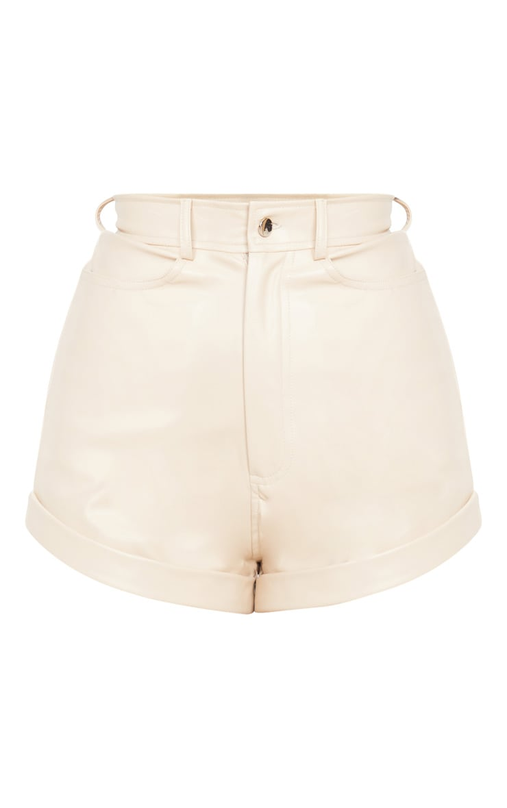 Cream Faux Leather Turn Up Hem Detail Shorts 3
