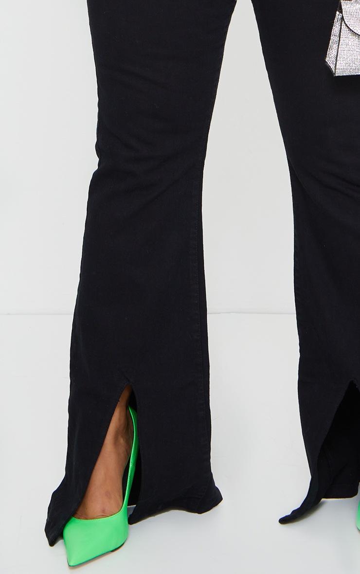 Plus Black High Waist Split Hem Flared Jeans 4