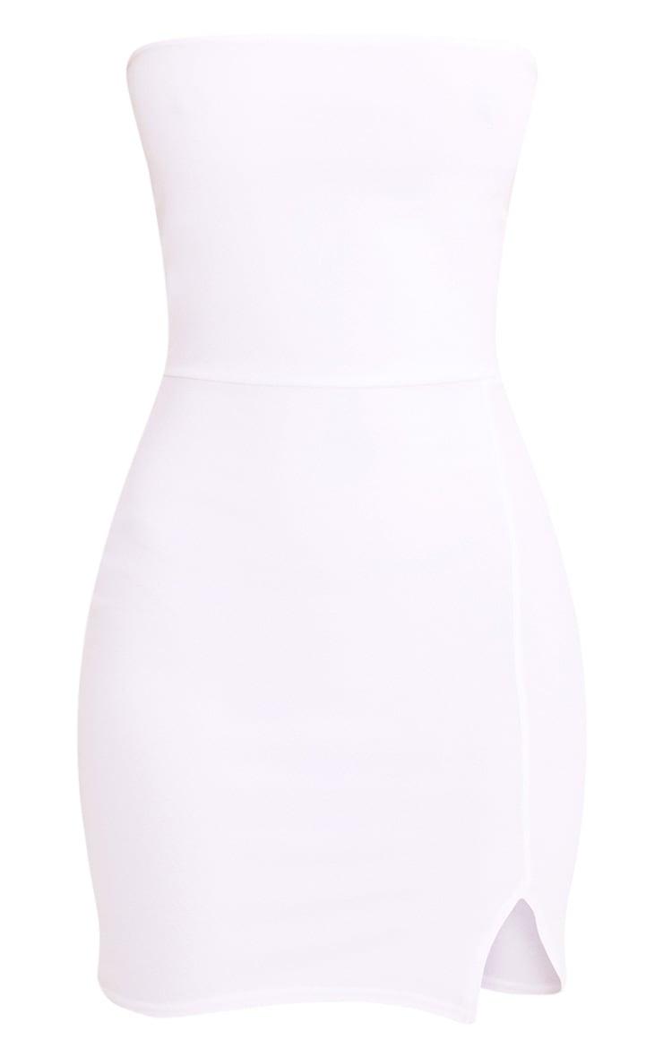 Layala White Split Detail Bandeau Bodycon Dress 3