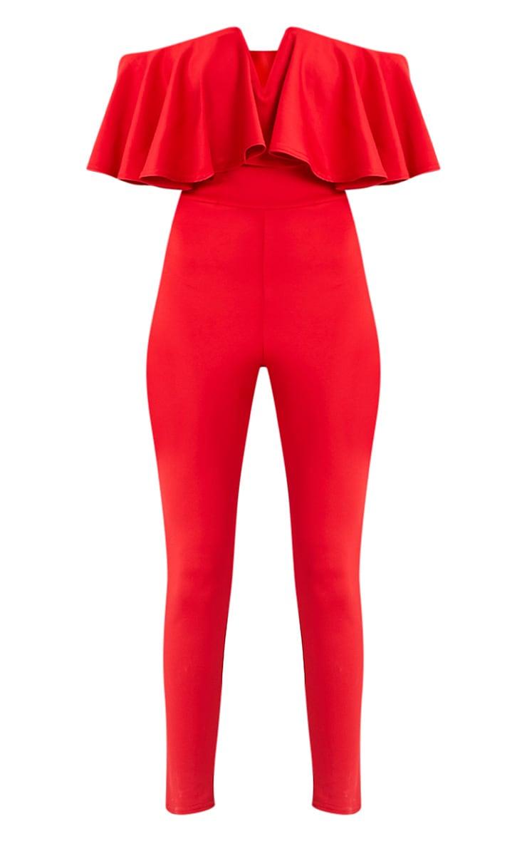Lilliana Red Bardot Frill Scuba Jumpsuit  3