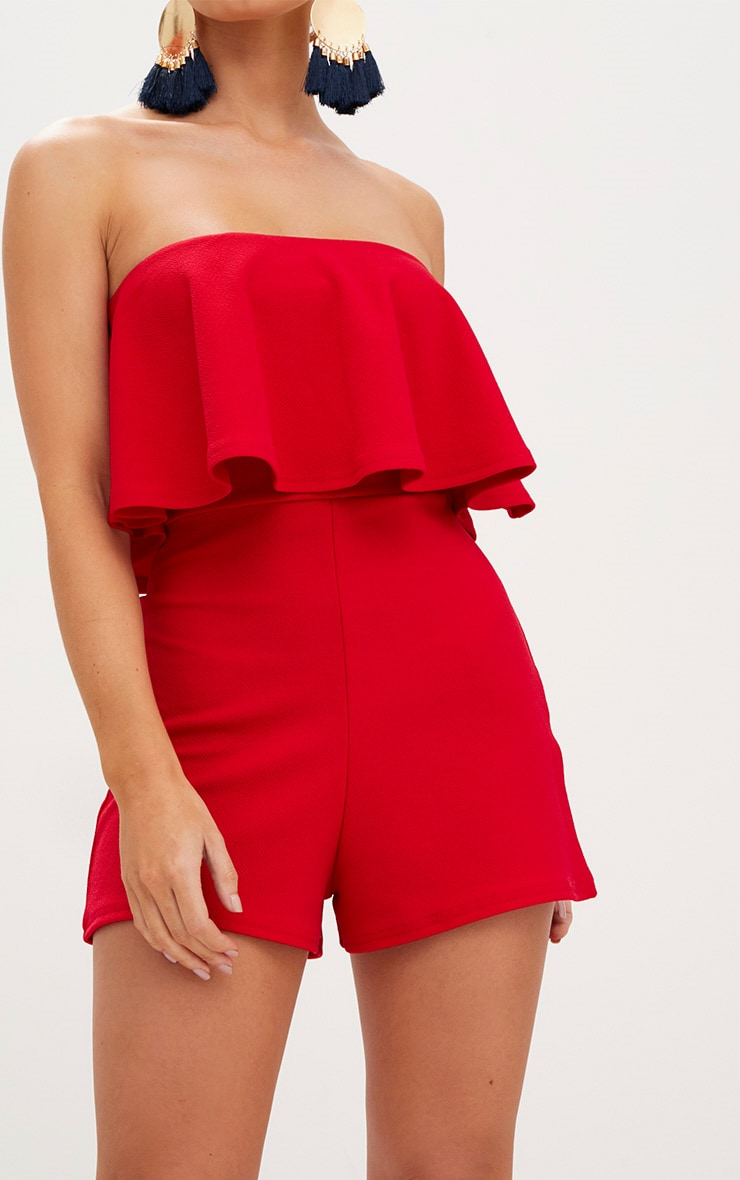 Red Double Layer Playsuit 5