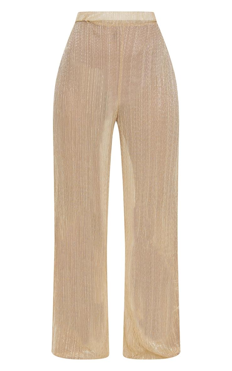 Petite Gold Metallic Sheer Wide Leg Trousers 3