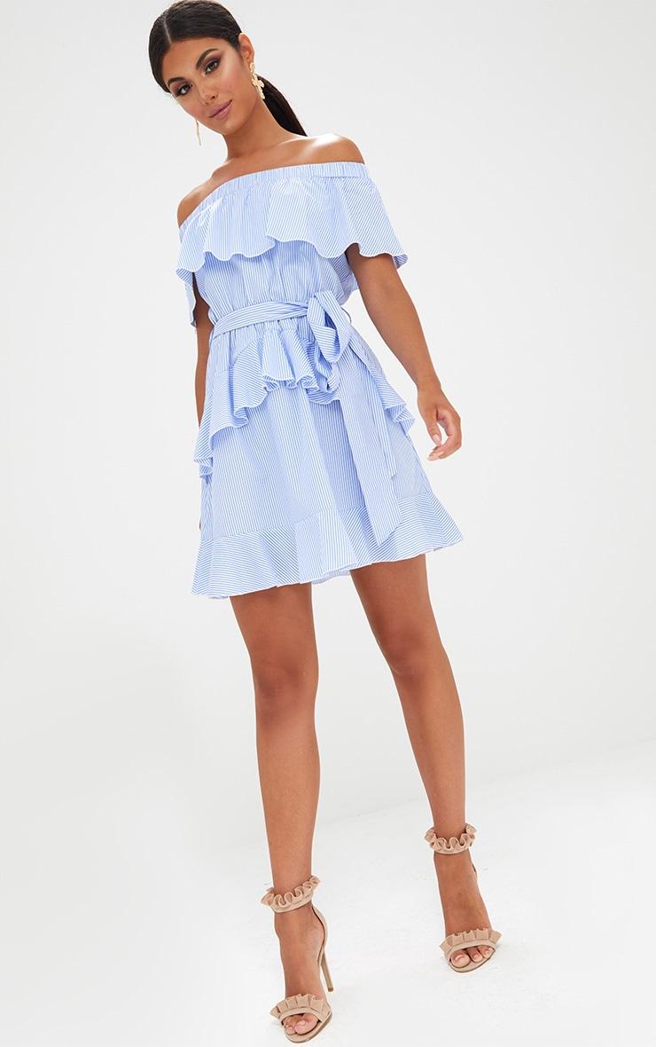 Blue Striped Bardot Ruffle Detail Tie Dress 4