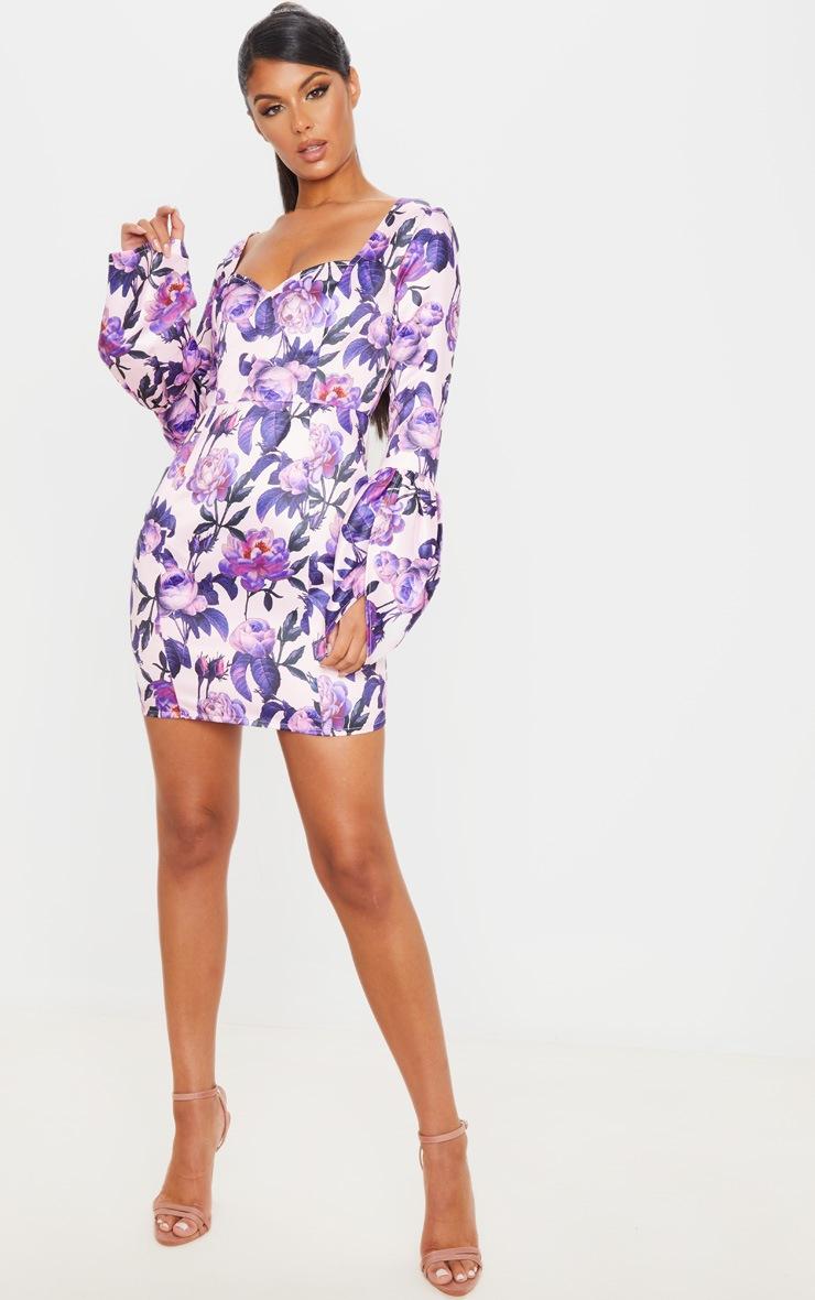 Lilac Floral Print Bonded Satin Long Sleeve Bodycon Dress 4