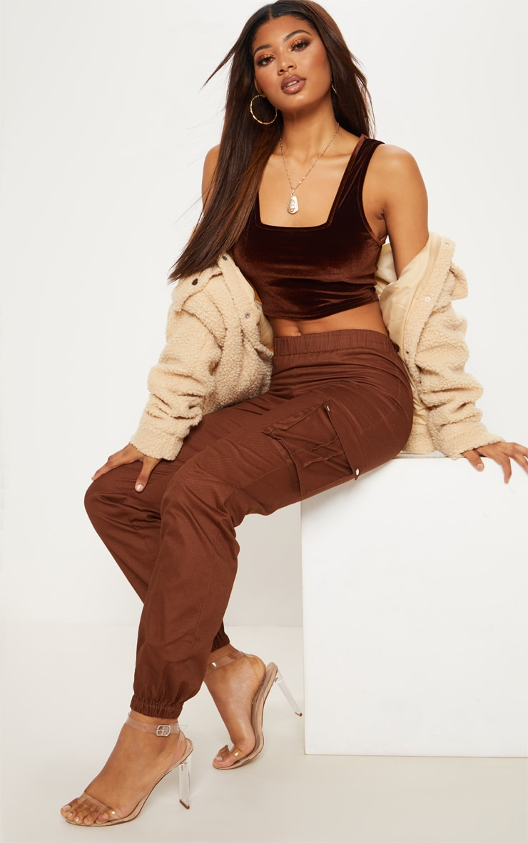Tall Chocolate Brown Pocket Detail Cargo Pants 1