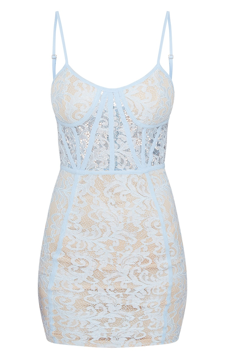 Dusty Blue Lace Strappy Panelled Bodycon Dress 3