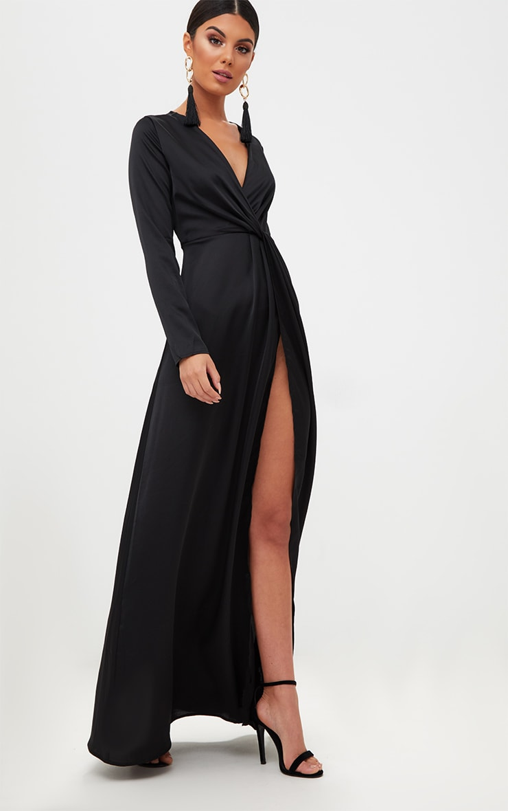 Black Satin Twist Front Maxi Dress 4