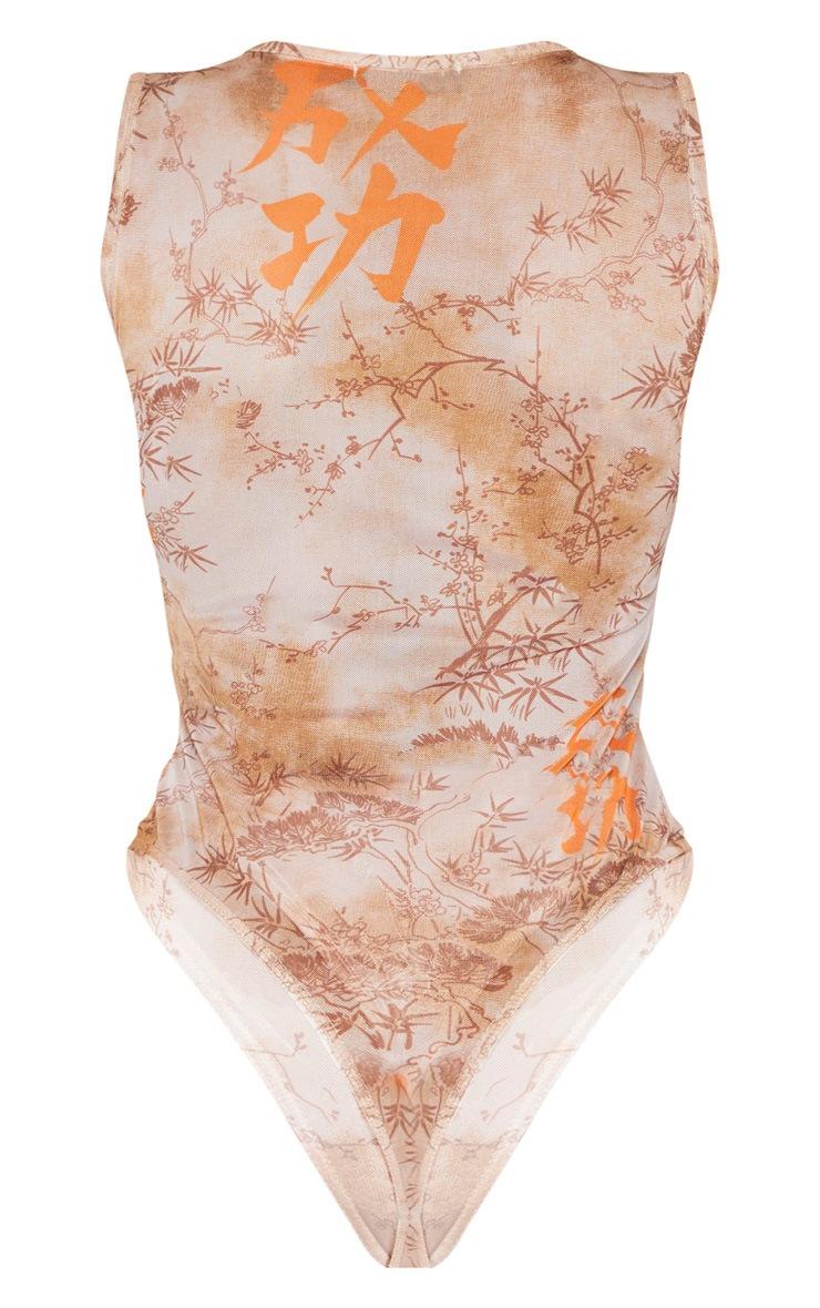 Shape Nude Oriental Print Sheer Bodysuit 6