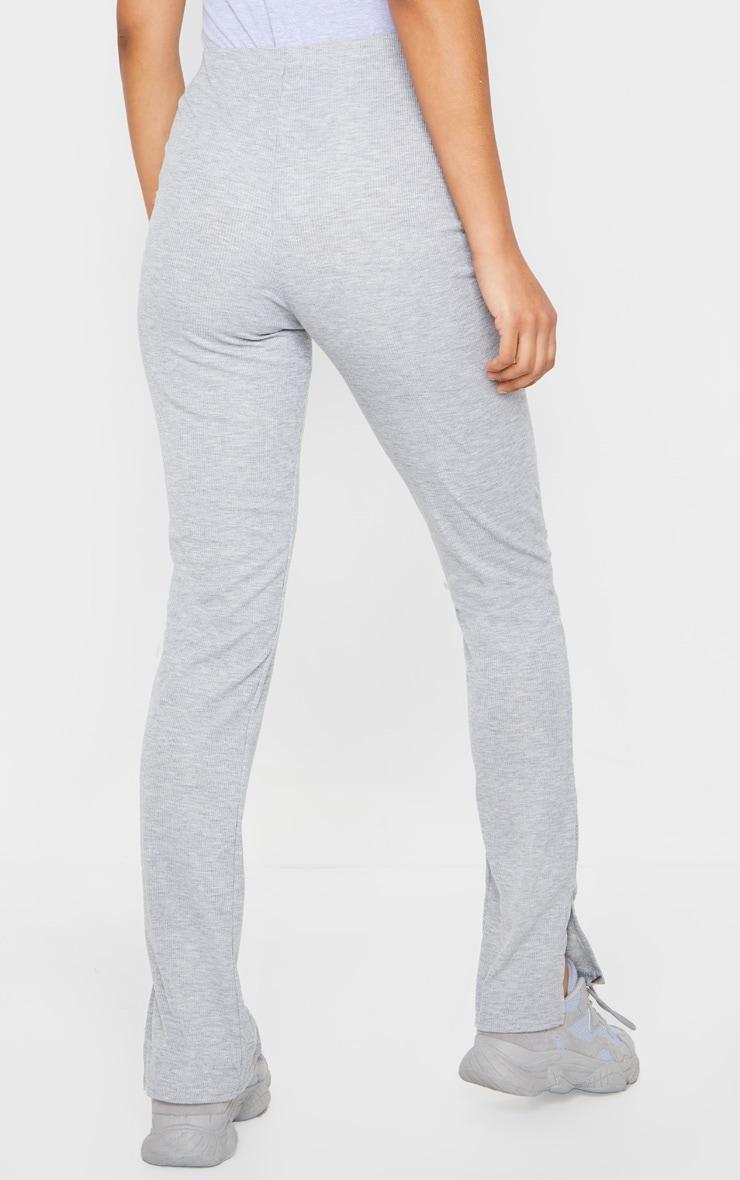 Pantalon skinny côtelé gris chiné à fentes 3