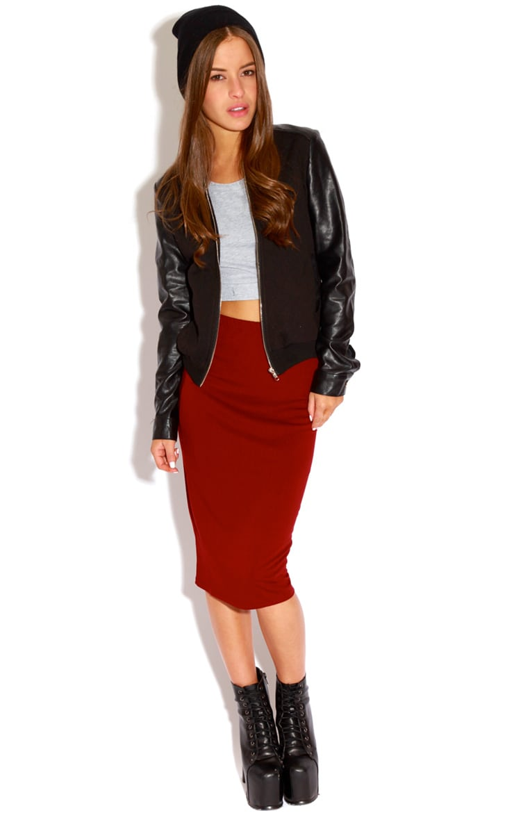 Marie Burgundy Basic Midi Skirt 2