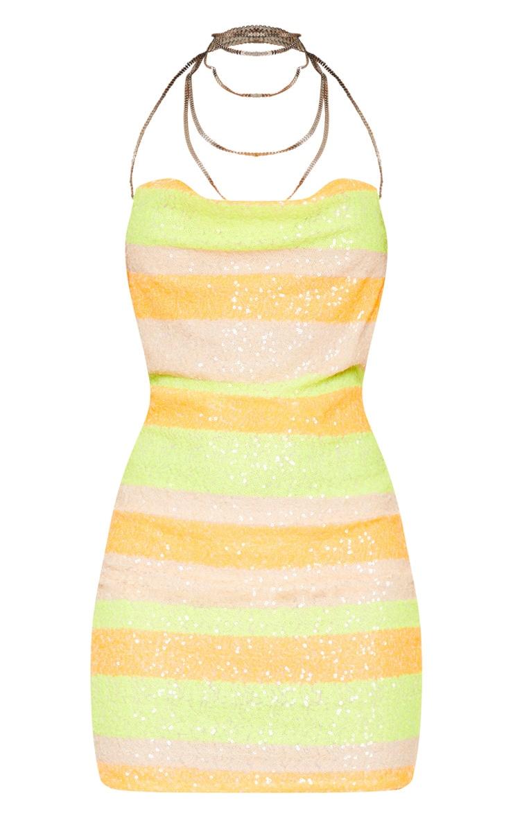 Neon Orange Multi Sequin Chain Choker Mini Dress 4