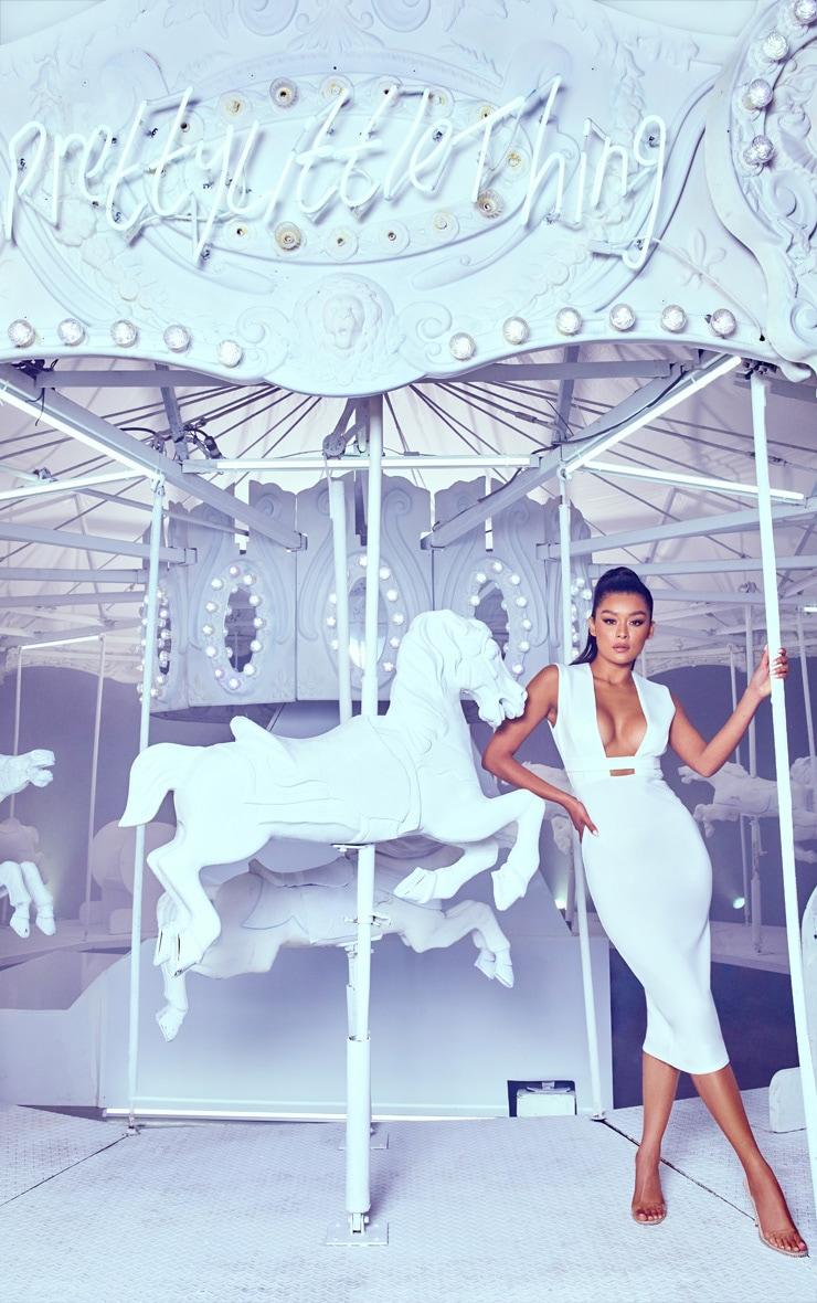 White Plunge Strap Midi Dress