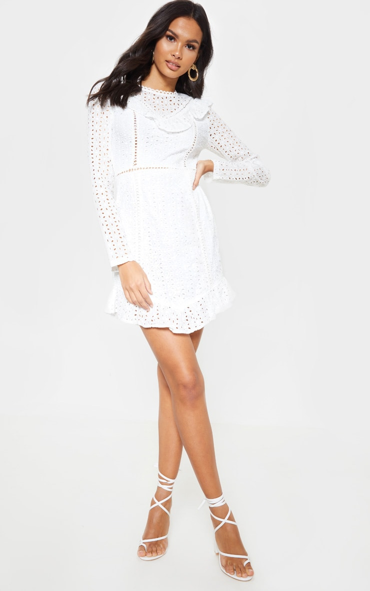 White Broderie Anglaise Frill Collar Shift Dress 4