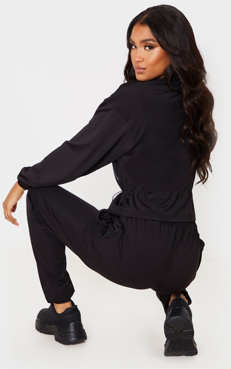 Black Soft Touch Funnel Neck Toggle Zip Front Sweater 2