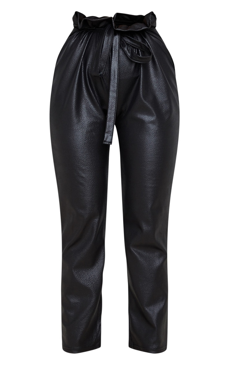 Black Coated Paperbag Waist Trouser 3