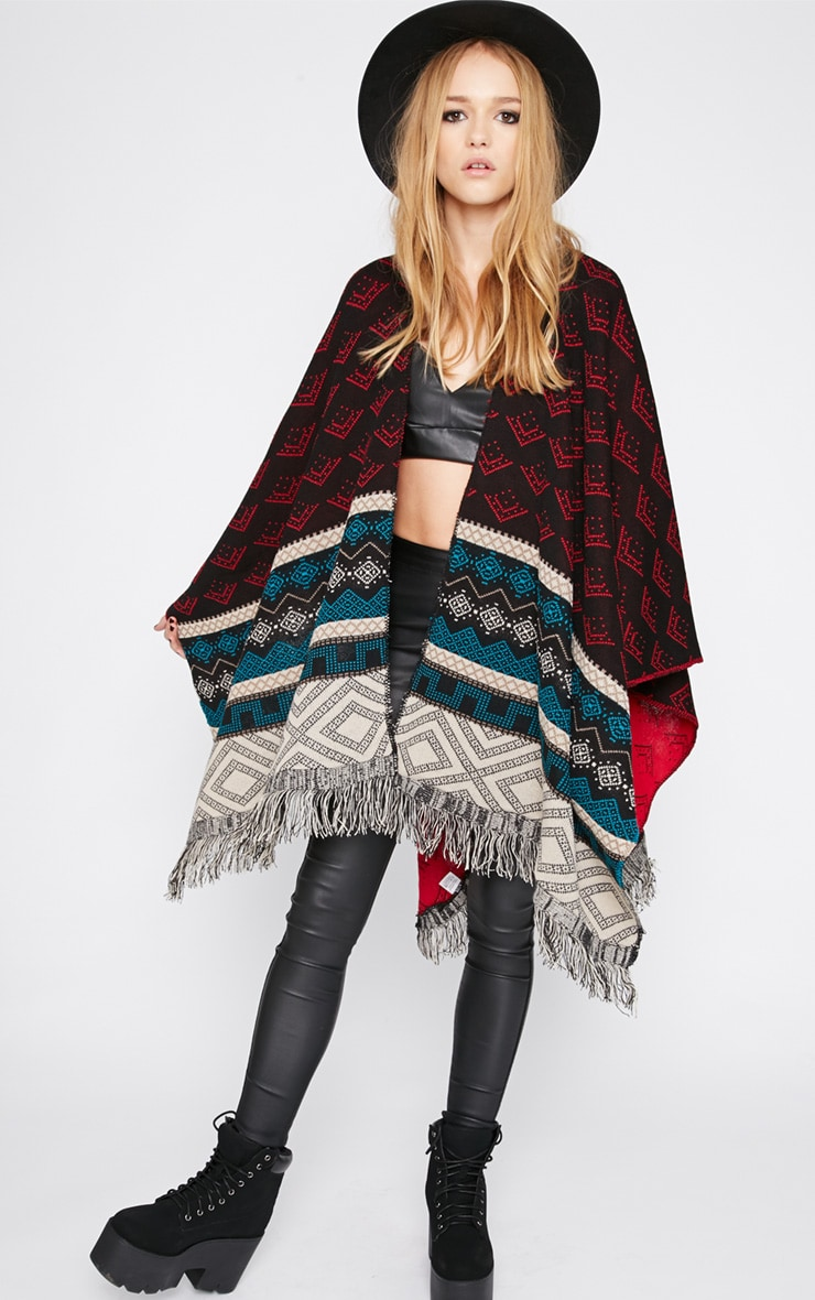 Melissa Multi Print Knitted Tassel Poncho -One Size 3
