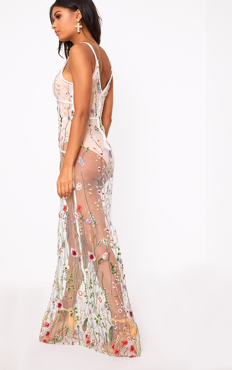 White Embroidered Mesh Maxi Dress  3